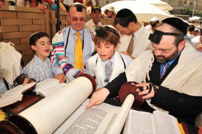 Boys Studying for Bar Mitzvah