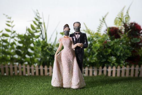 Bride and Groom With Face Masks