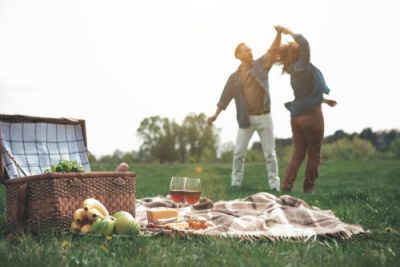 Couple Celebrating With a Picnic