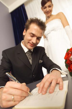 Filling out a marriage license