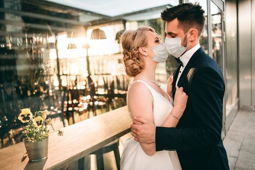 Groom and Bride With Masks