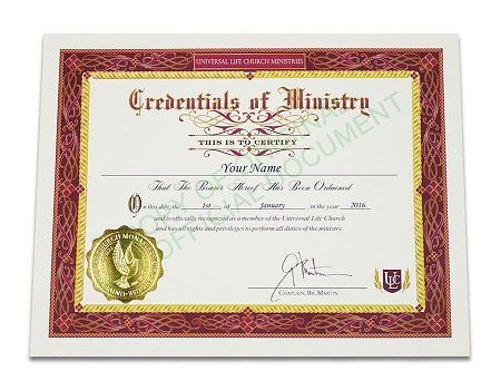 An Official Ulc Ordination Credential