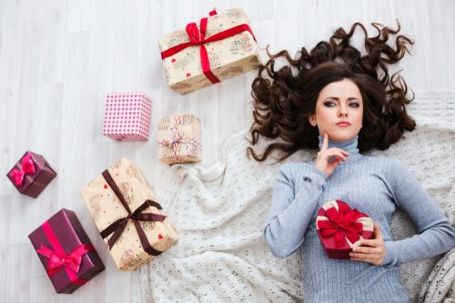 Woman Trying To Choose a Gift