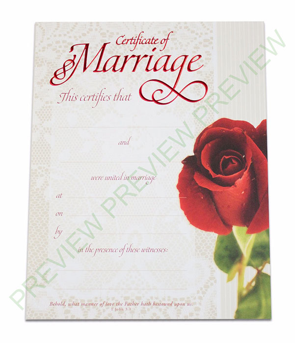 Marriage Certificate  Lace  Rose  Get Ordained