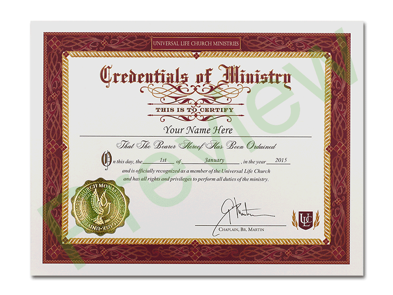 certificate ordination ministry credential minister license marriage church universal printable template credentials ulc ordained templates divinity training county honorary degree