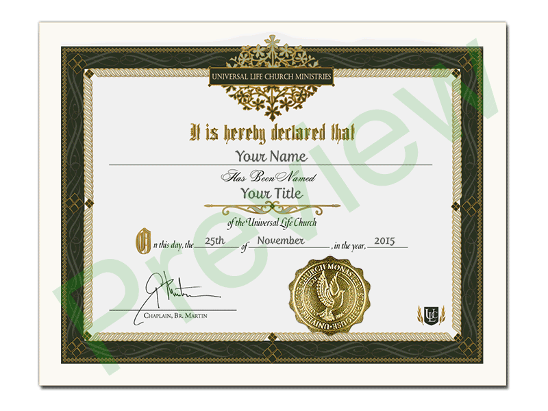 Religious Title Certificate Get Ordained