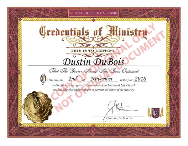 Ordination Certificate - Click the image to view my Universal Life Church profile.